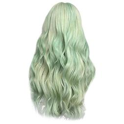 Cinhent 2019 Fashion Synthetic Long Wavy Green Curly Hair Na
