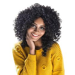Aibelly Synthetic Full Wig Medium Side Bang Black Afro Curly