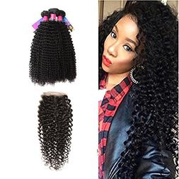 XS Hair Brazilian Curly Hair 3 Bundles With Closure Free Par