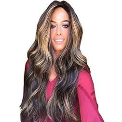 "Cinhent 28"" Charming Mix Color Long Curly Wig Synthetic High"