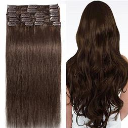 16 inch 90g Clip in Hair Extensions Human Hair 100% Double D