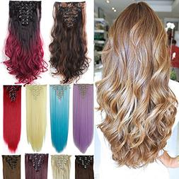 3-5 Days Delivery 8Pcs 18 Clips 17-26 Inch Curly Straight Fu