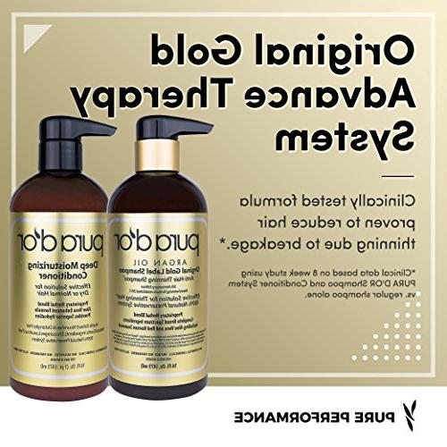 PURA D'OR Original Label Shampoo Deep Moisturizing Set, Clinically Rich in Natural Ingredients, Types, 16 fl oz