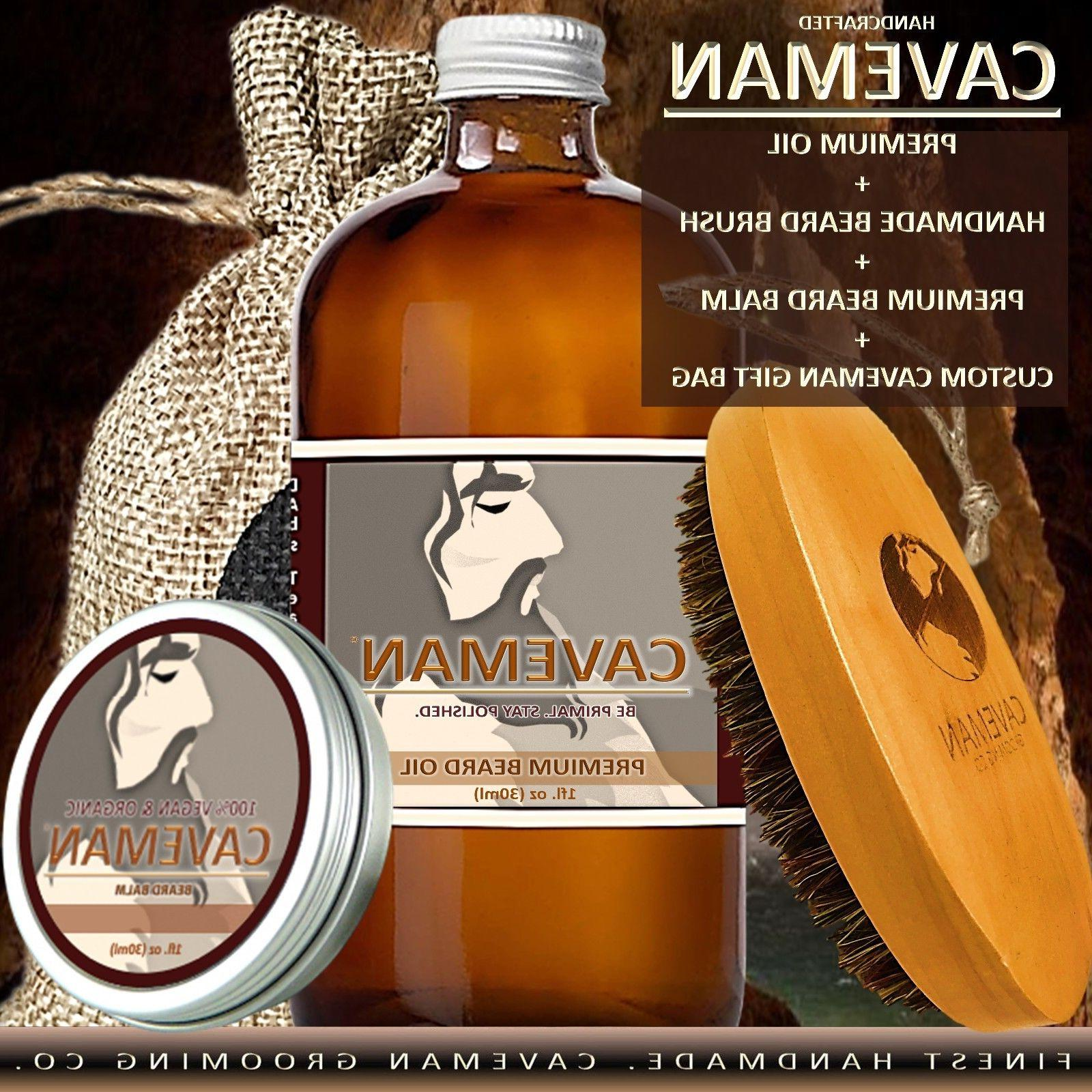Hand Crafted Caveman® Oil Balm + Brush KIT 18 Scents