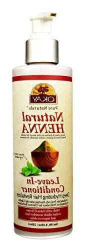 Okay Natural Henna Leave In Conditioner Bottle, 8.45 Ounce