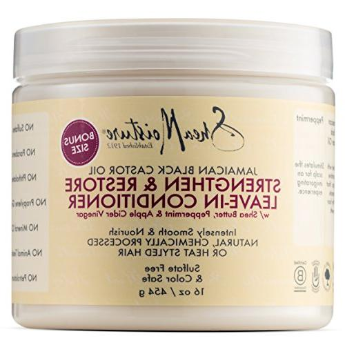 Shea Raw Shea Butter Duo, Deep Treatment 16 Fl Ounce Shea Jamaican Black Strengthen Conditioner, 16